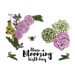 Sizzix - In Bloom Collection - Framelits Die with Clear Acrylic Stamp Set - Blooming Florals