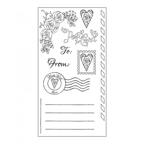 Sizzix - In Bloom Collection - Clear Acrylic Stamps - Postcard Set