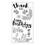 Sizzix - In Bloom Collection - Clear Acrylic Stamps - Sentiments