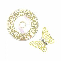 Sizzix - Framelits Die with Clear Acrylic Stamp Set - Wine Glass Charm and Butterfly