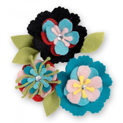 Sizzix - Thinlits Die - Stitchy Flowers and Leaf