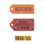 Sizzix - Framelits Die with Clear Acrylic Stamp Set - Tag Sentiments 2