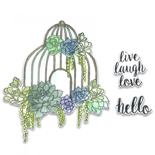 Sizzix - Framelits Die with Clear Acrylic Stamp Set - Succulent Birdcage