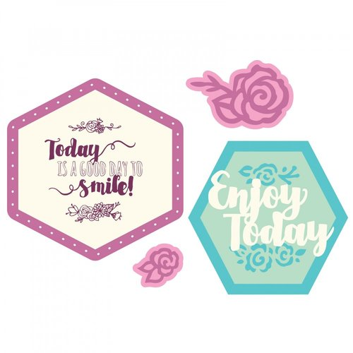 Sizzix - Framelits Die with Clear Acrylic Stamp Set - Thanks for Being You