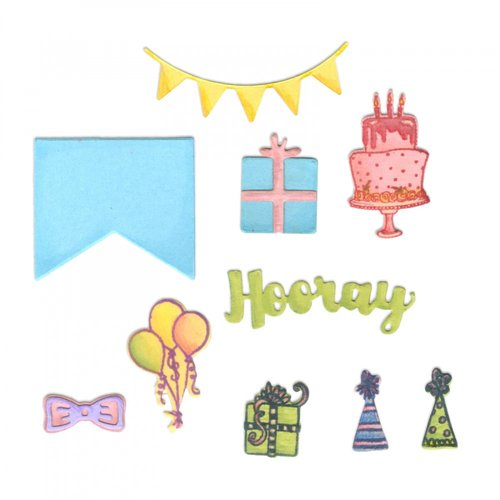 Sizzix - Framelits Die with Clear Acrylic Stamp Set - Birthday Planner