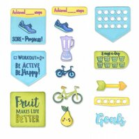 Sizzix - Framelits Die with Clear Acrylic Stamp Set - Health and Fitness Planner
