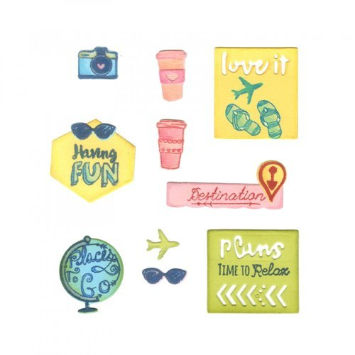 Sizzix - Framelits Die with Clear Acrylic Stamp Set - Travel Planner
