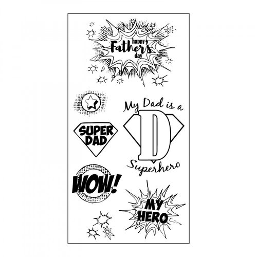 Sizzix - Clear Acrylic Stamps - Super Dad