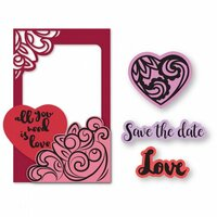 Sizzix - Picture This Collection - Framelits Die with Clear Acrylic Stamp Set - Photo Frame, Lovely