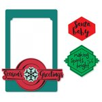 Sizzix - Picture This Collection - Framelits Die with Clear Acrylic Stamp Set - Photo Frame, Seasonal Phrases