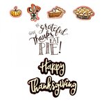 Sizzix - Pumpkin Spice Collection - Framelits Die with Clear Acrylic Stamp Set - Give Thanks, Eat Pie