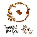 Sizzix - Pumpkin Spice Collection - Framelits Die with Clear Acrylic Stamp Set - Let's Fall in Love