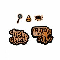 Sizzix - Pumpkin Spice Collection - Framelits Die with Clear Acrylic Stamp Set - Trick or Treat