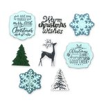 Sizzix - Tis the Season Collection - Framelits Die with Clear Acrylic Stamp Set - Christmas is Here