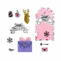 Sizzix - Planner Pages and More Collection - Framelits Die with Clear Acrylic Stamp Set - Christmas Planner