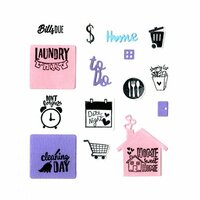 Sizzix - Planner Pages and More Collection - Framelits Die with Clear Acrylic Stamp Set - Household Planner