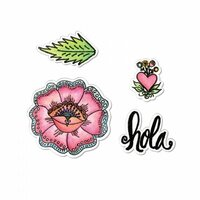 Sizzix - My Happy Life Collection - Framelits Die with Clear Acrylic Stamp Set - Hola Flower