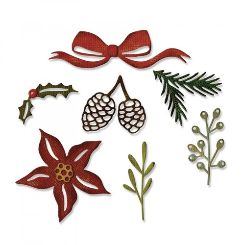 Sizzix - Tim Holtz - Alterations Collection - Christmas - Thinlits Die - Festive Greens