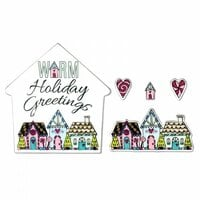 Sizzix - Sweet Christmas Collection - Framelits Die with Clear Acrylic Stamp Set - Warm Holiday Greetings