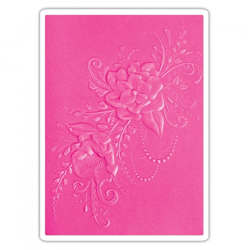 Sizzix - 3D Textured Impressions - Embossing Folders - Flower Heart Doodle