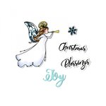 Sizzix - Christmas Blessings Collection - Framelits Die with Clear Acrylic Stamp Set - Angel