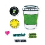 Sizzix - Framelits Die with Clear Acrylic Stamp Set - Coffee