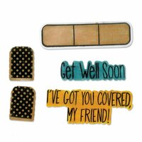 Sizzix - Framelits Die with Clear Acrylic Stamp Set - Get Well Soon