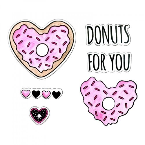 Sizzix - Framelits Die with Clear Acrylic Stamp Set - Donuts for You