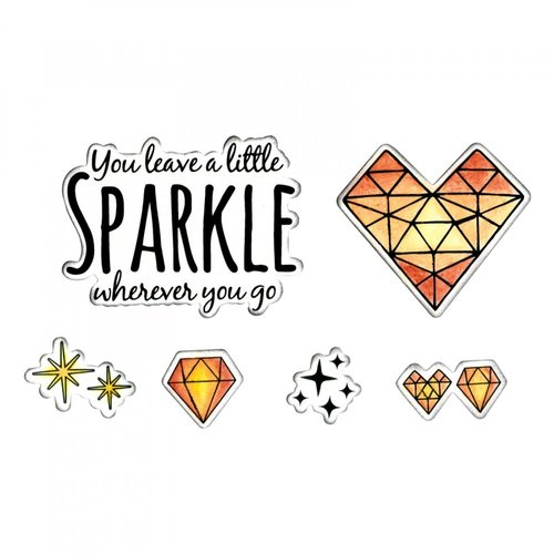 Sizzix - Framelits Die with Clear Acrylic Stamp Set - Sparkle