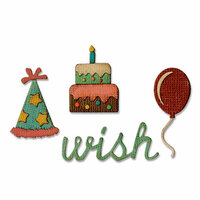 Sizzix - Tim Holtz - Alterations Collection - Sidekick - Side-Order Set - Thinlits Die and Texture Fades - Birthday
