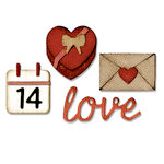 Sizzix - Tim Holtz - Alterations Collection - Sidekick - Side-Order Set - Thinlits Die and Texture Fades - Valentine