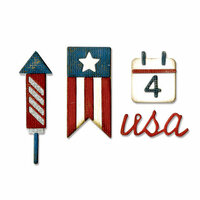 Sizzix - Tim Holtz - Alterations Collection - Sidekick - Side-Order Set - Thinlits Die and Texture Fades - Americana