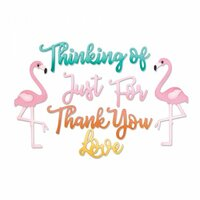 Sizzix - Making Happy Happen Collection - Thinlits Die - Phrases, Thank You and Flamingo