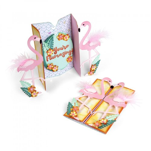 Sizzix - Making Happy Happen Collection - Thinlits Die - Card, Flamingo Fold-a-Long