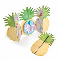 Sizzix - Making Happy Happen Collection - Thinlits Die - Card, Pineapple Fold-a-Long