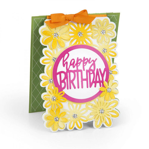 Sizzix - Cards That Wow Collection - Framelits Die - Card with Flowers and Circle Drop-ins