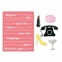 Sizzix - Thinlits Die and Embossing Folder - Bonjour Chic