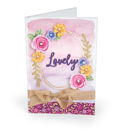 Sizzix - Bloom and Blossom Collection - Framelits Die with Clear Acrylic Stamp Set - Layered Flowers