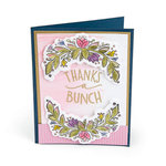 Sizzix - Bloom and Blossom Collection - Framelits Die with Clear Acrylic Stamp Set - Thanks a Bunch 2