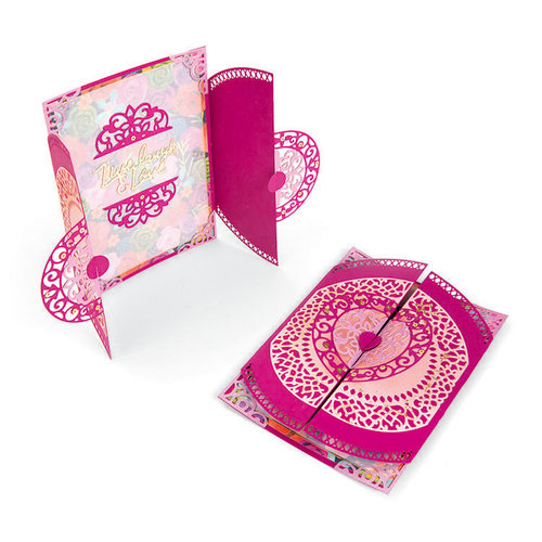 Sizzix - Let's Celebrate Collection - Thinlits Die - Card, Moroccan Lace Flip and Fold