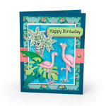 Sizzix - Tropicool Vibes Collection - Framelits Die with Clear Acrylic Stamp Set - Birds of a Feather