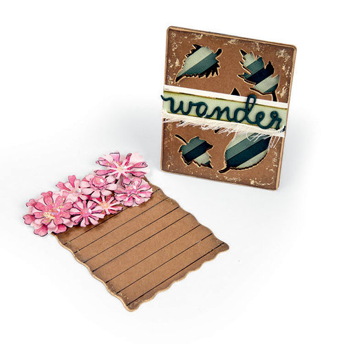 Sizzix - Book Club Collection - Thinlits Die - Journaling Cards, Flowers and Leaves