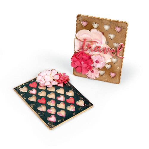 Sizzix - Book Club Collection - Thinlits Die - Journaling Cards, Hearts