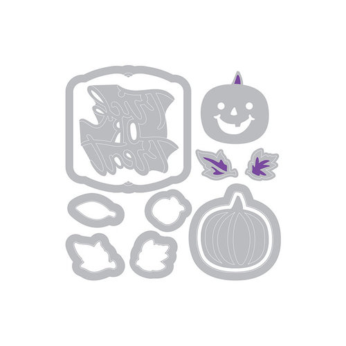 Sizzix - Moments and Memories Collection - Halloween - Framelits Die with Clear Acrylic Stamp Set - Cutest Pumpkin