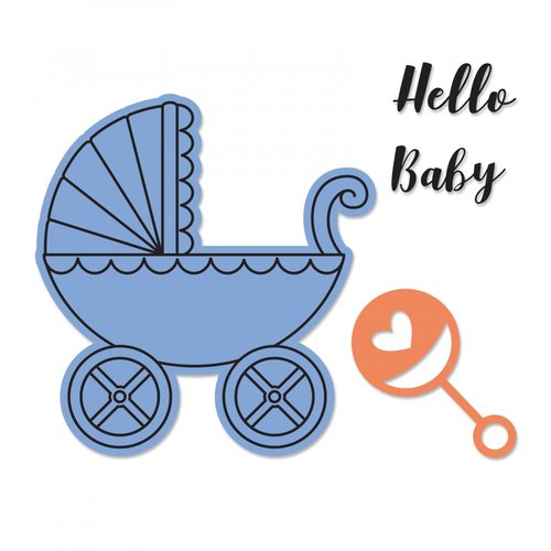 Sizzix - Framelits Die with Clear Acrylic Stamp Set - Baby Carriage