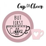 Sizzix - Framelits Die with Clear Acrylic Stamp Set - But First Coffee