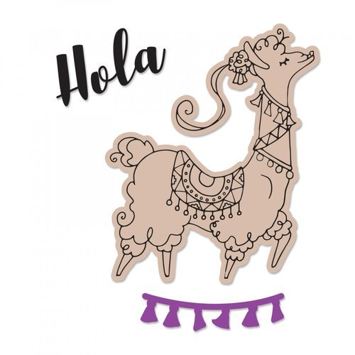 Sizzix - Framelits Die with Clear Acrylic Stamp Set - Diva Llama