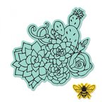 Sizzix - Framelits Die with Clear Acrylic Stamp Set - Floral Embellishments