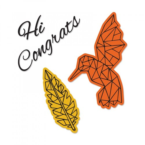 Sizzix - Framelits Die with Clear Acrylic Stamp Set - Fly High