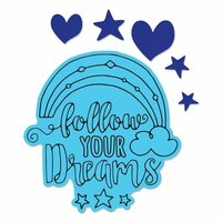 Sizzix - Framelits Die with Clear Acrylic Stamp Set - Follow Your Dreams